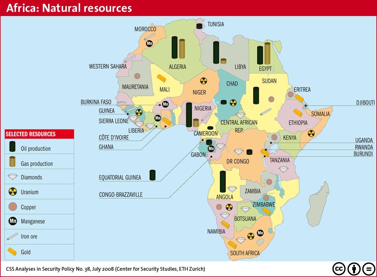 Carte du continent africain et la répartition des ressources minières