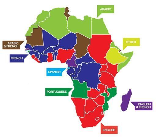 carte de l'afrique et ses différentes langues officielles parlées