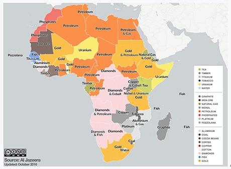 Carte des ressources du continent africain