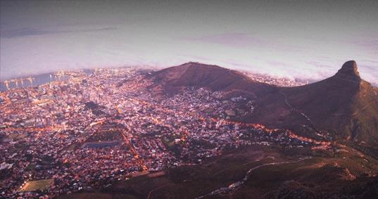 Vue aérienne de la ville de cap et de son port en afrique du sud