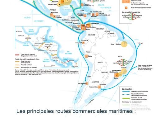 Carte des principales routes commerciales maritimes