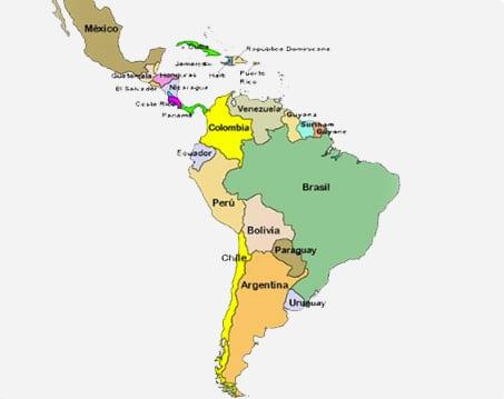 Carte de l'amérique du sud et de ses pays