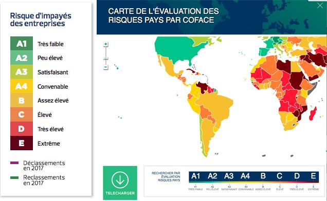 Carte du monde avec l'évaluations des risques selon un code couleur
