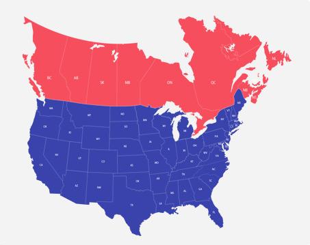 carte des états unis et du canada et de leurs états