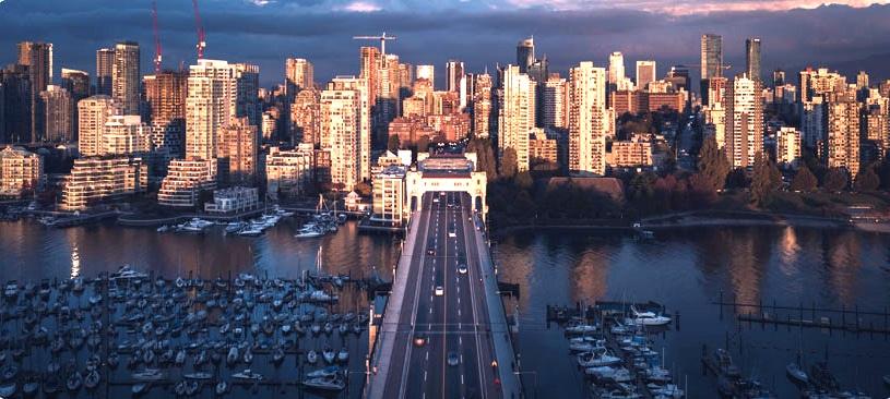 Horizon de le ville de Vancouver et de son port