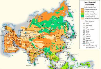 carte des langues présentent en asie