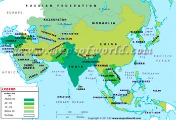 Carte de l'asie et de ses ressources naturelles