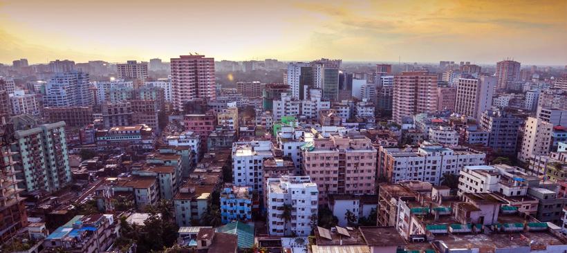 Vue aérienne de la ville de Dhaka au Bangladesh