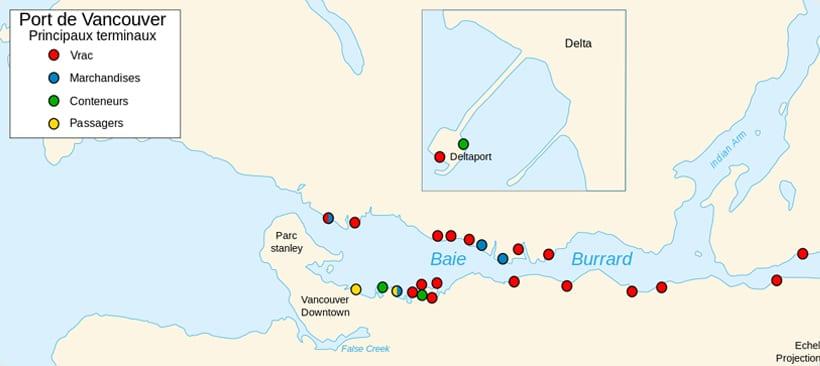 carte du port de vancouver et ses differents terminaux pour le freight maritime