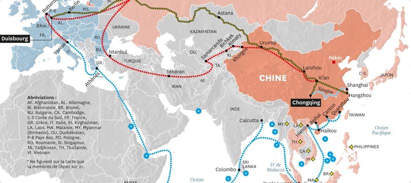 carte de l'europe et de l'asie désignant les nouvelles routes de transport pour la soie