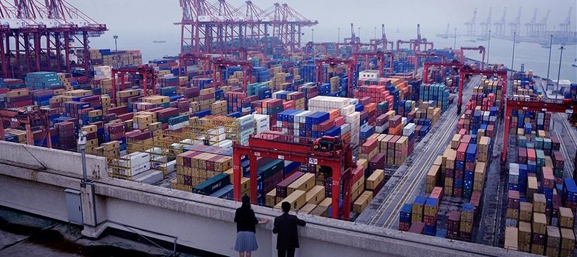 Conteneur de marchandises et produits dans un port chinois