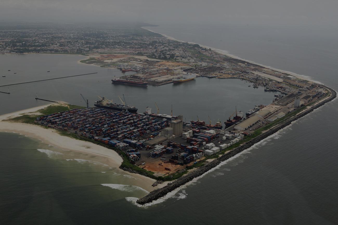 Représentation aérienne du port de Congo Brazzaville en Afrique