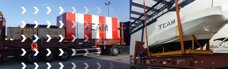 Transport de conteneurs, caisses en bois et bateau par TEAMCDG