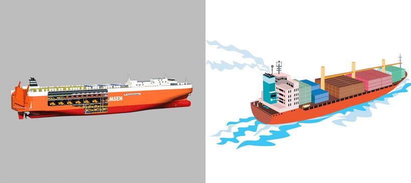 illustration d'un transporteur de véhicules et de conteneurs