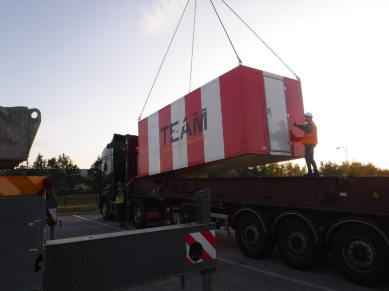 Container on TEAM delivery truck in  Equatorial Guinea
