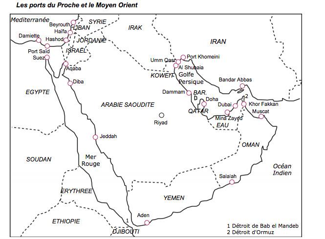 carte des ports de fret maritime aux proche et moyen-orient