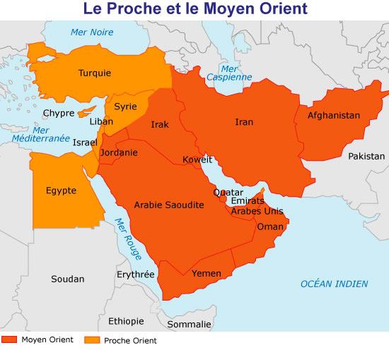 Carte du proche et moyen-orient découpée par couleur