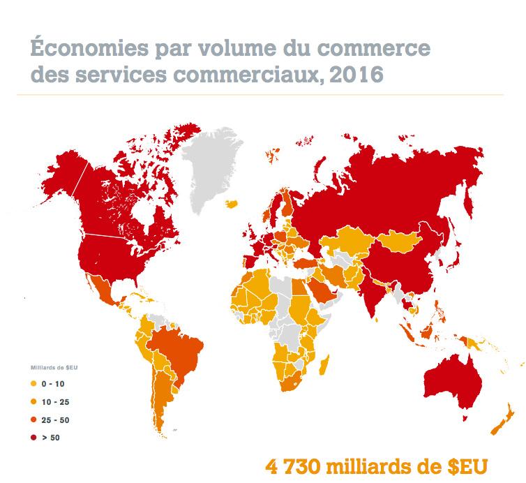 Carte du monde et son classement du commerce des services commerciaux international