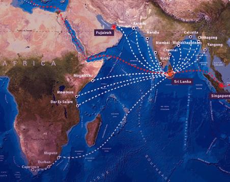 carte avec les differentes voix maritime du sri lanka dans l'océan indien