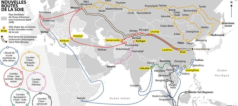 carte representant les differentes routes de la soie